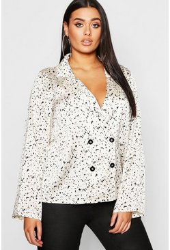 Womens White Plus Smudge Spot Revere Collar Satin Shirt