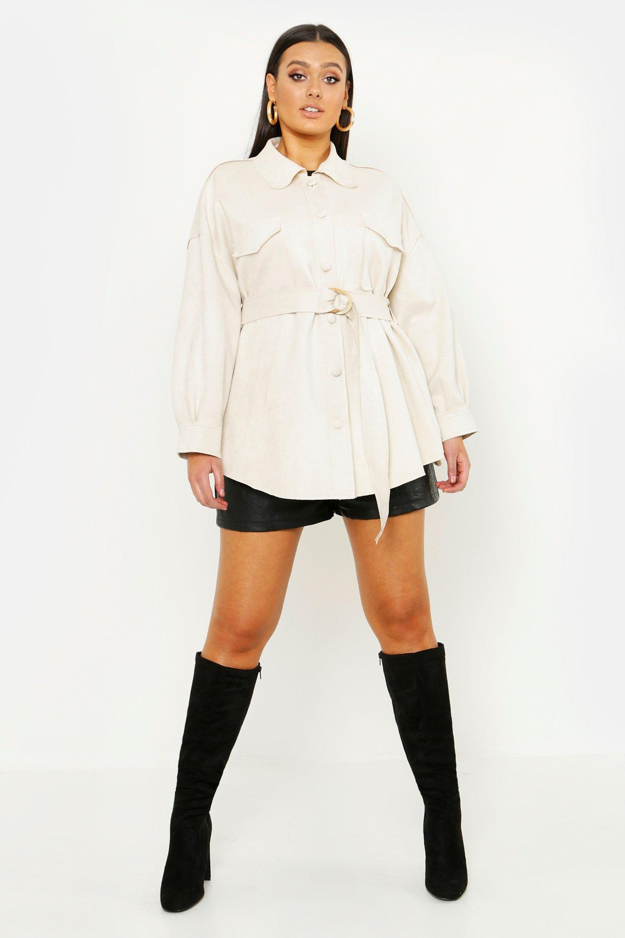 Plus Suede Oversized Belted Utility Jacket