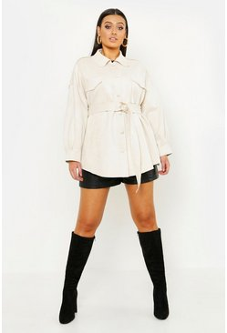 Womens Ecru Plus Suede Oversized Belted Utility Jacket