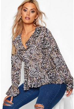 Womens Brown Plus Leopard Ruffle Plunge Top