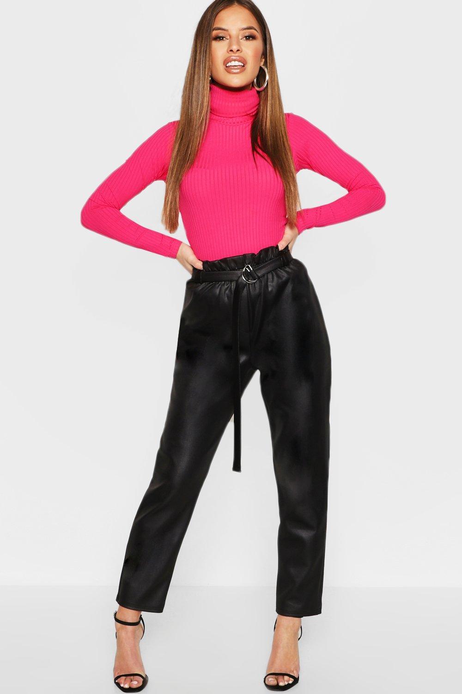 Petite Paper Bag Waist PU Trouser