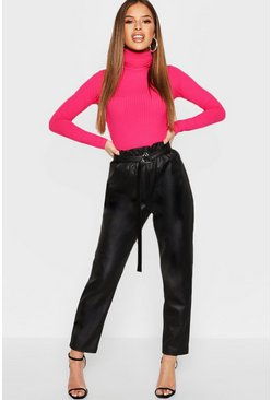 Womens Black Petite Paper Bag Waist Pu Pants