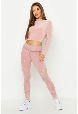 Womens Pink Petite Fit Premium Curved Panel High Waist Legging