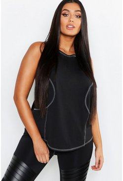 Womens Black Plus Fit Racer Back Vest