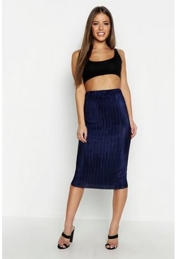 Womens Navy Petite Pleated Midi Skirt