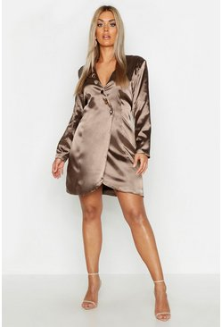 Womens Khaki Plus Satin Tailored Button Blazer Dress