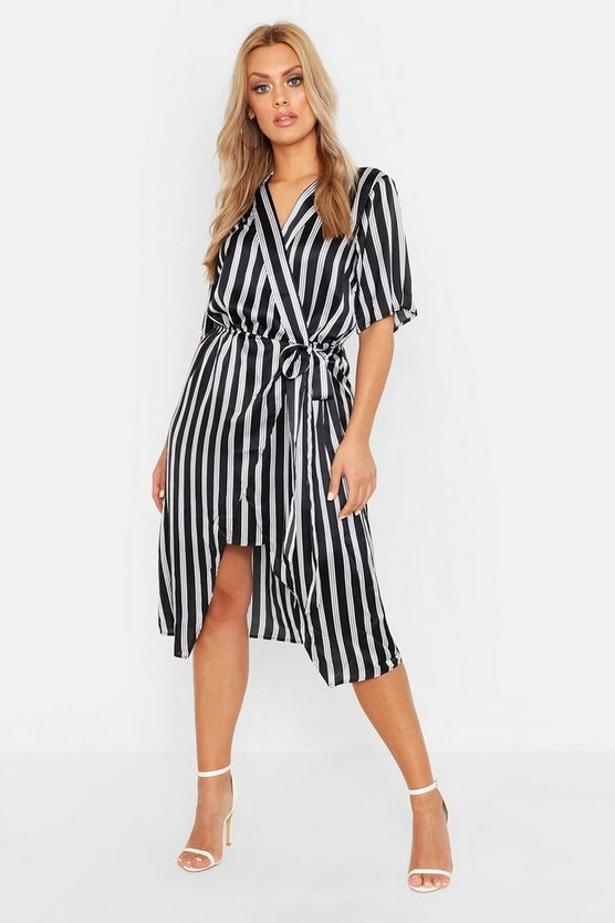 Black Plus Satin Stripe Wrap Tie Waist Midi Dress