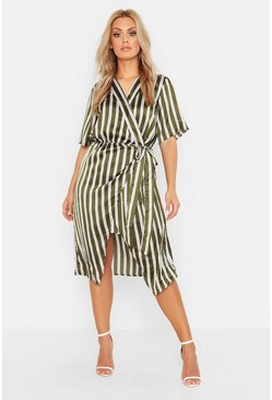 Womens Khaki Plus Satin Stripe Wrap Tie Waist Midi Dress