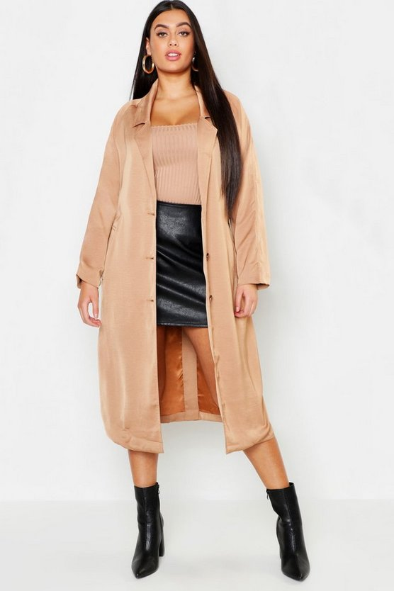 Womens Camel Plus Duster Tie Waist Coat
