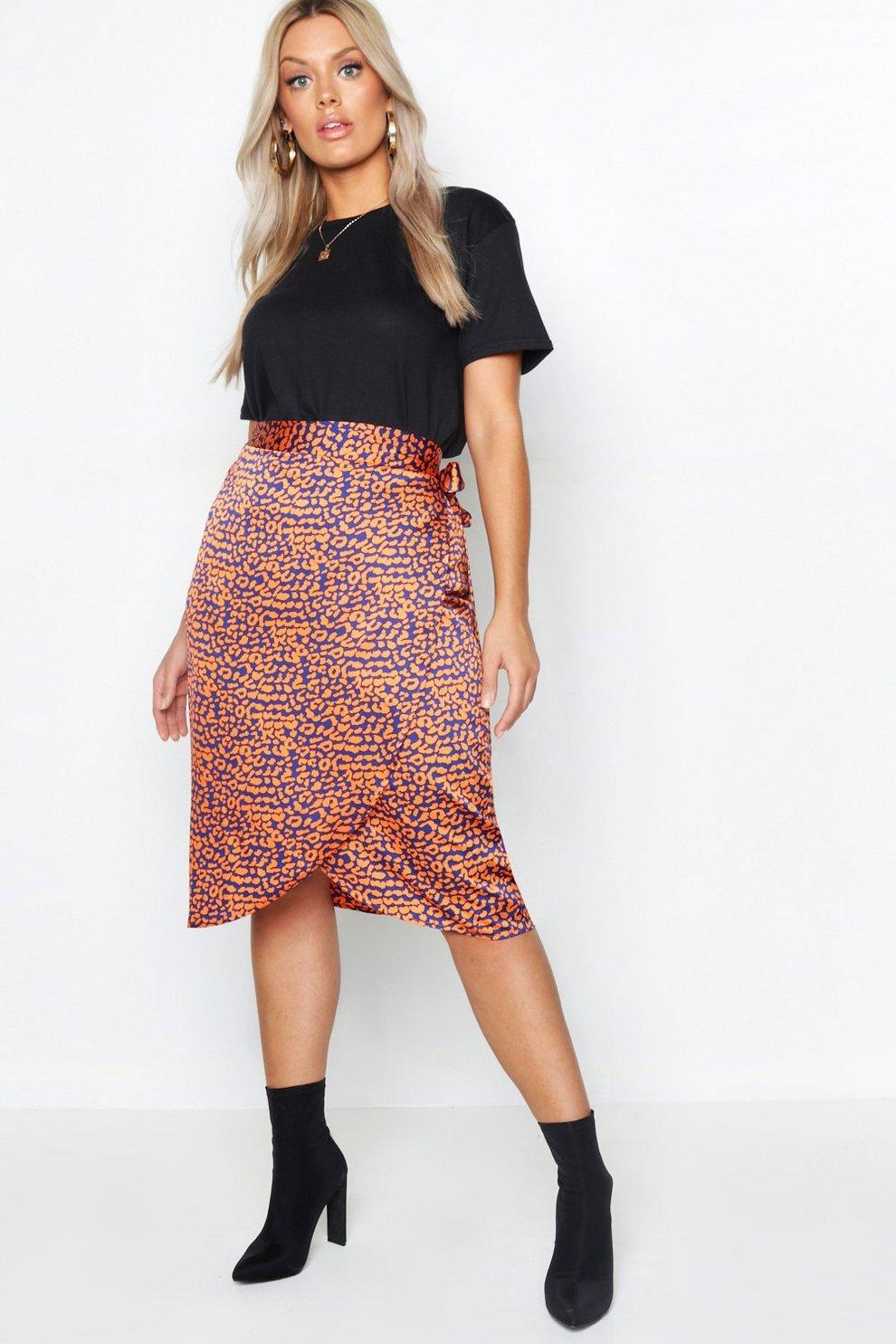 11a4a186fc Womens Navy Plus Satin Leopard Print Wrap Midi Skirt