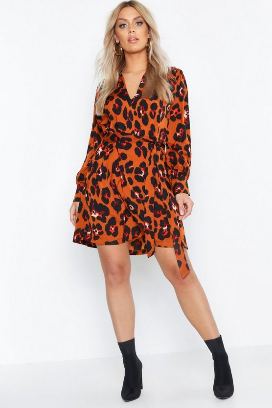 Womens Terracotta Plus Leopard Tie Waist Shirt Dress