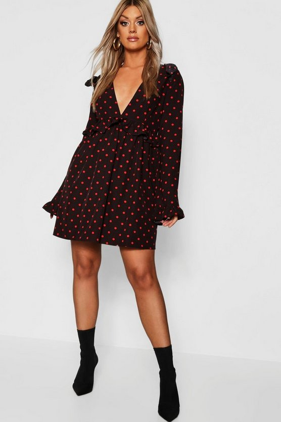 Womens Black Plus Polka Dot Plunge Ruffle Skater Dress