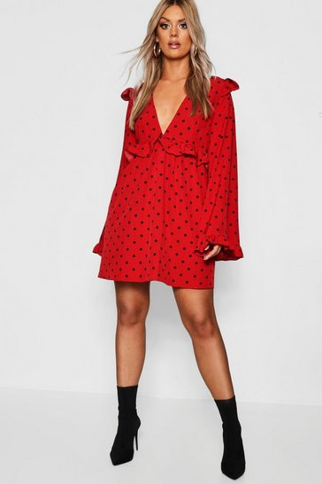 Womens Red Plus Polka Dot Plunge Ruffle Skater Dress