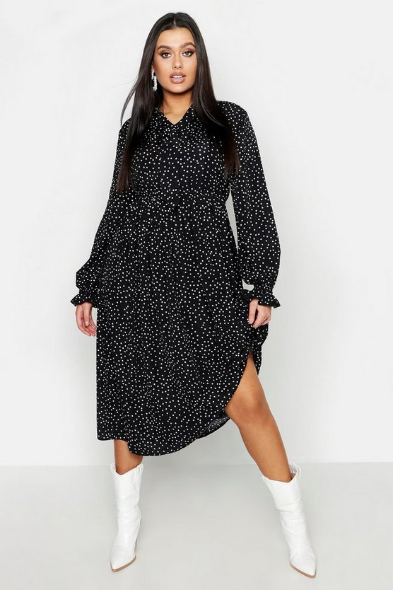 Plus Polka Dot Tie Neck Midi Dress