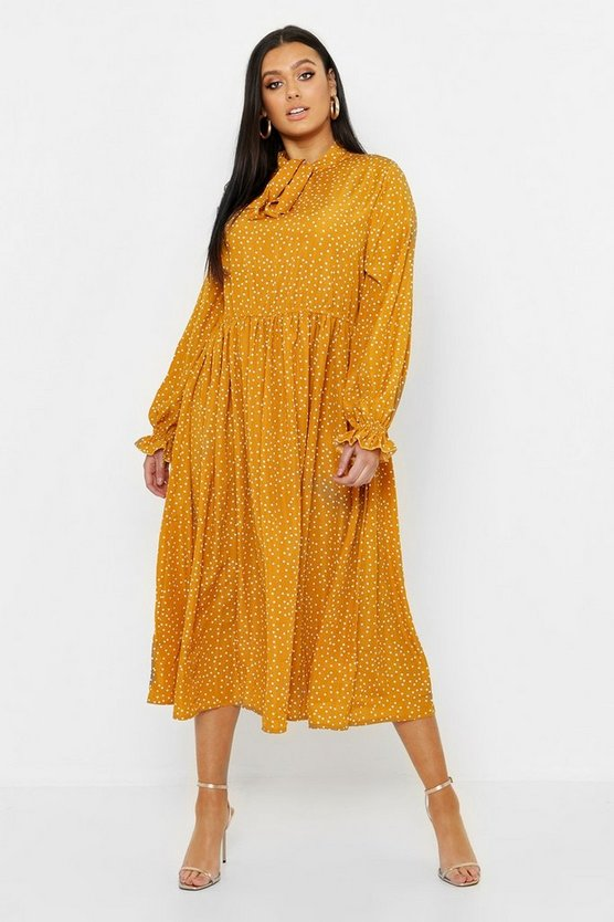Womens Mustard Plus Polka Dot Tie Neck Midi Dress