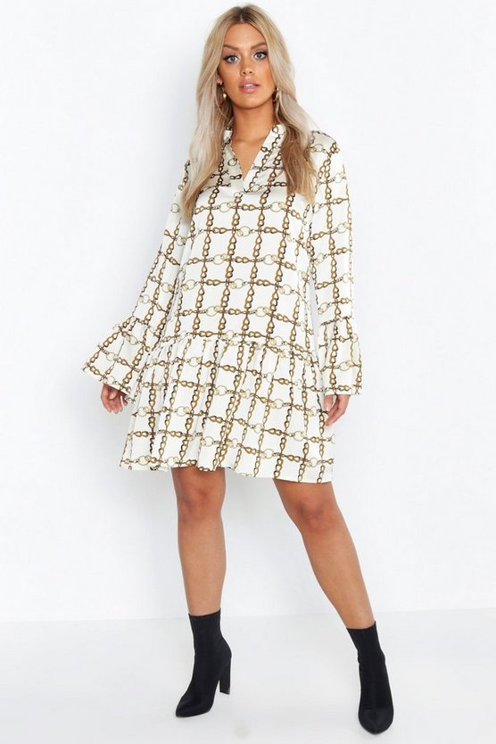 Plus Satin Chain Print Ruffle Smock Dress