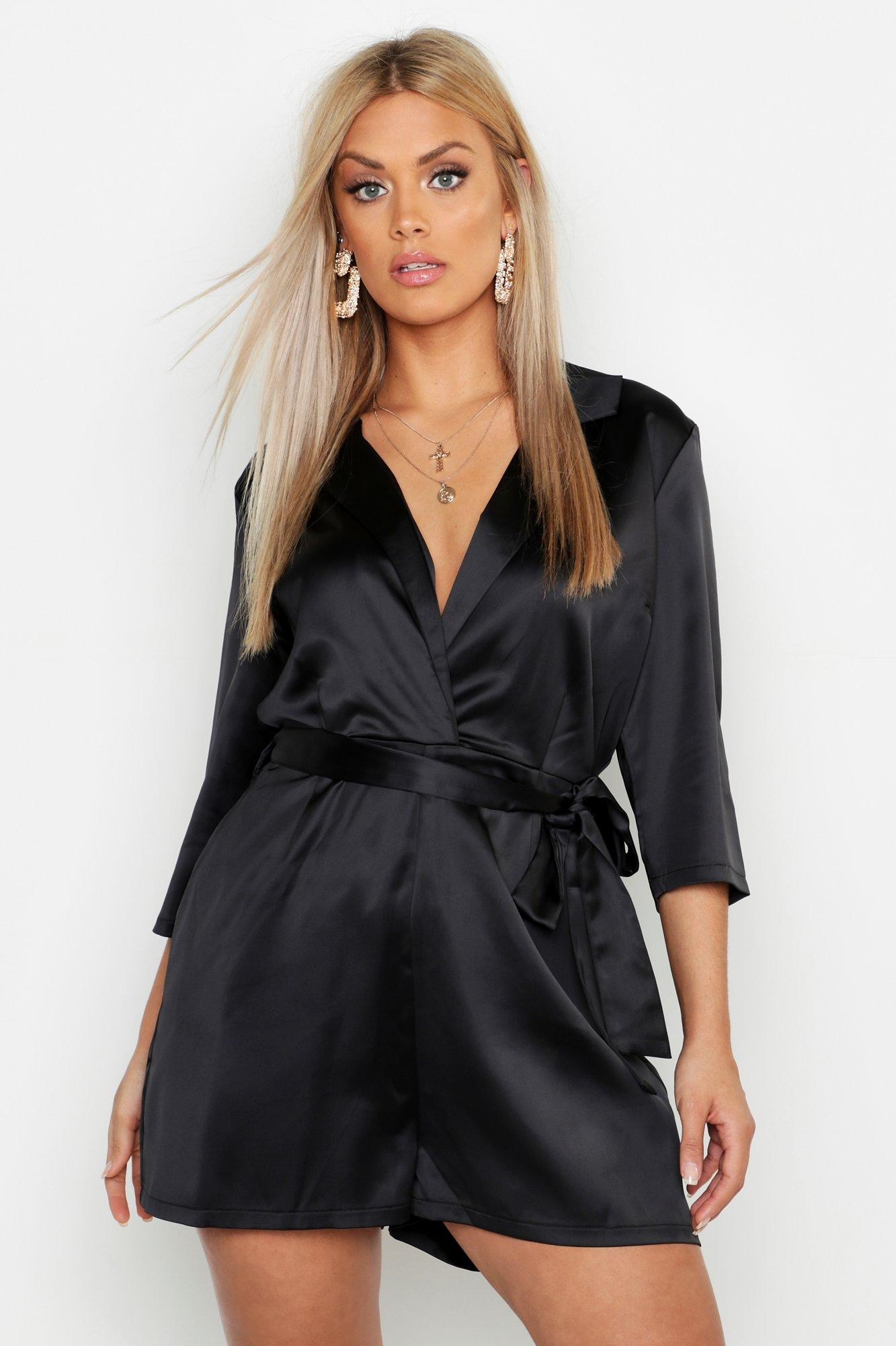 Plus Satin Tailored Tie Waist Playsuit