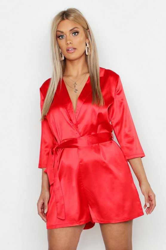 Womens Red Plus Satin Tailored Tie Waist Playsuit