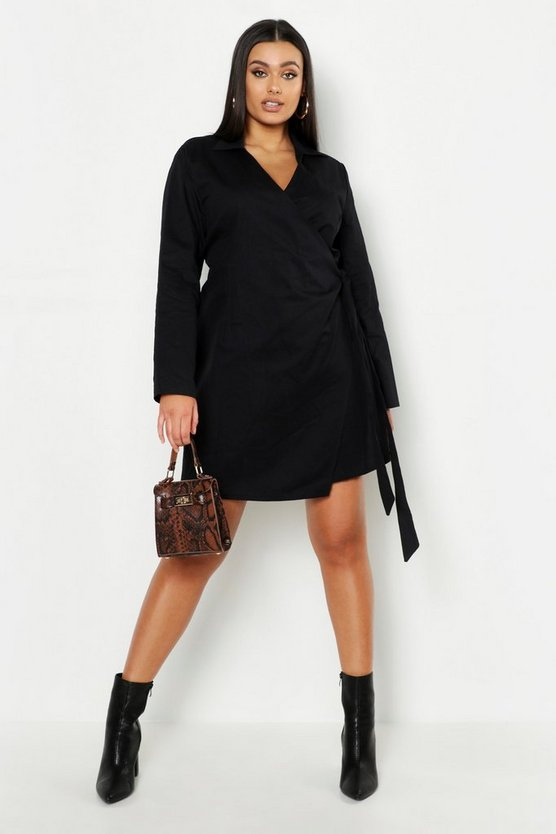 Womens Black Plus Wrap Belted Shirt Dress