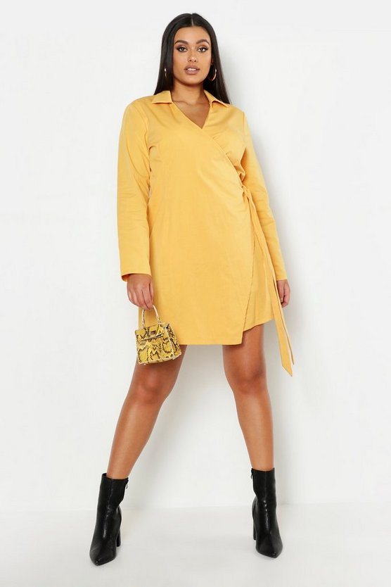 Womens Mustard Plus Wrap Belted Shirt Dress