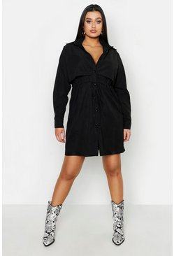 Womens Black Plus Utility Shirt Dress