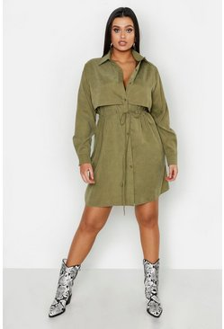 Womens Khaki Plus Utility Shirt Dress