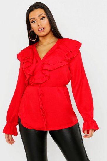 Womens Red Plus Ruffle Plunge Detail Top