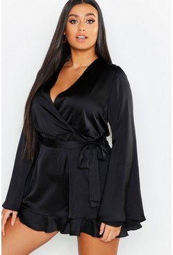 Womens Black Plus Satin Flare Sleeved Ruffle Playsuit