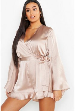 Womens Blush Plus Satin Flare Sleeved Ruffle Romper