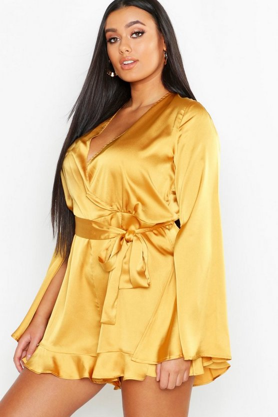 Plus Satin Flare Sleeved Ruffle Playsuit