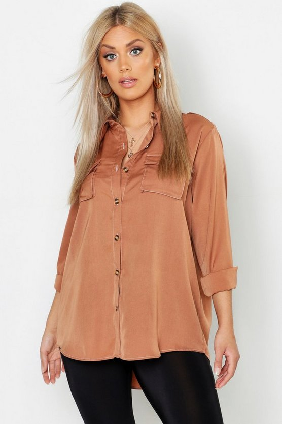 Womens Camel Plus Woven Utility Contrast Stitch Oversized Shirt