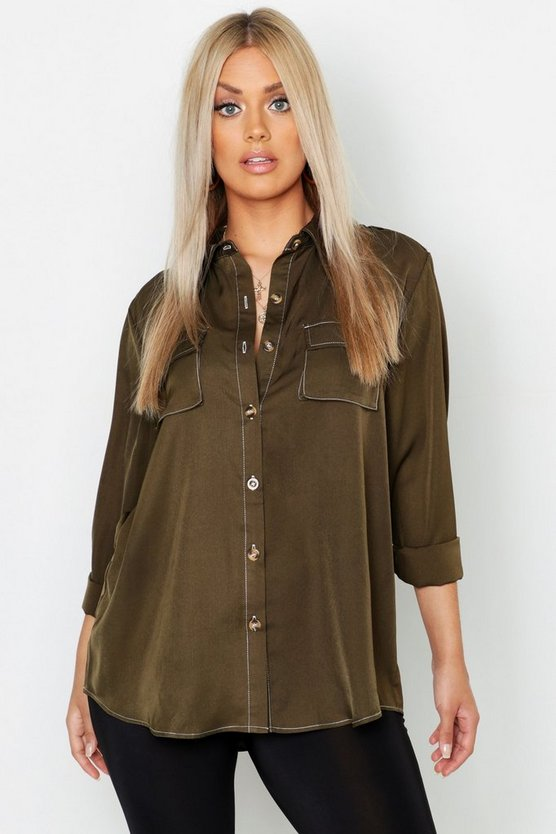Womens Khaki Plus Woven Utility Contrast Stitch Oversized Shirt