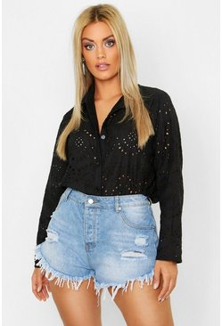 Black Plus Broderie Oversized Shirt