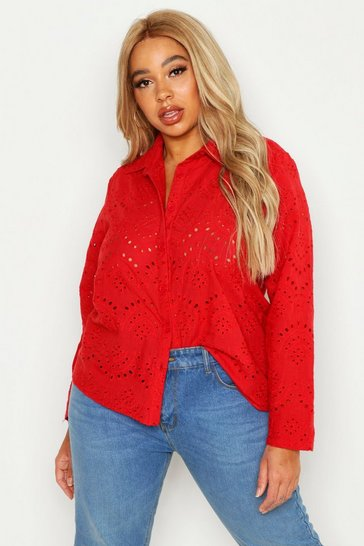Womens Red Plus Broidere Oversized Shirt