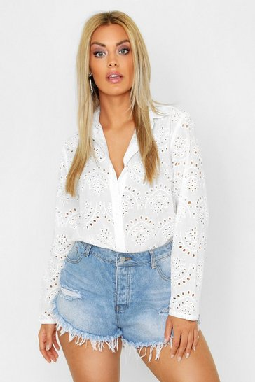 Womens White Plus Broidere Oversized Shirt