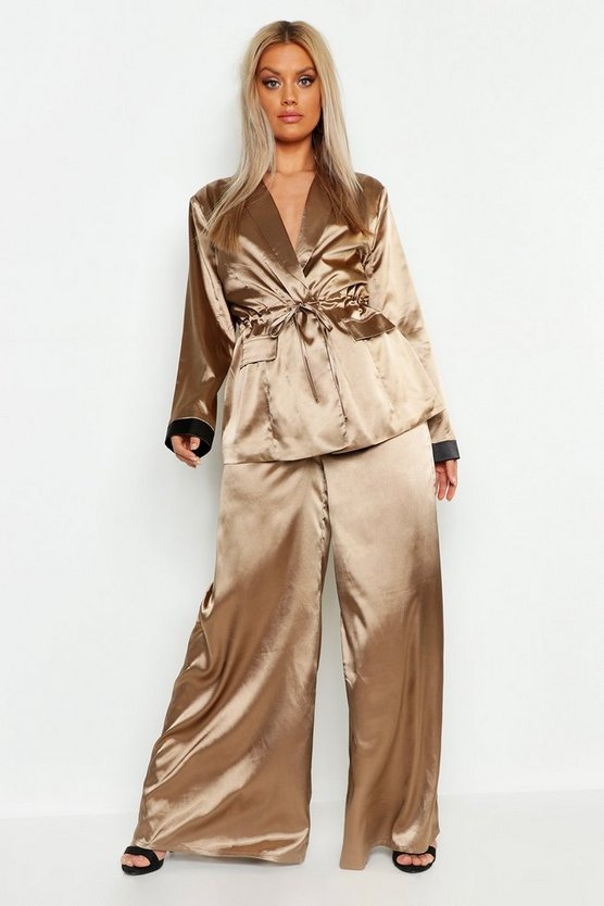Womens Mocha Plus Satin High Waist Wide Leg Pants