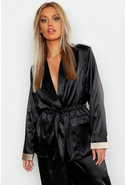 Womens Black Plus Satin Utility Oversized Blazer