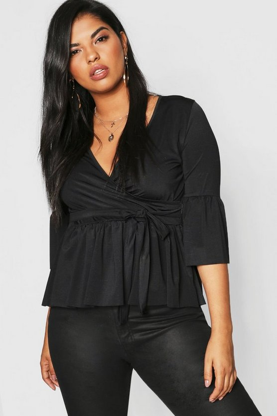 Womens Black Plus Slinky Wrap Peplum Top