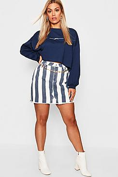 Plus Stripe Denim Skirt