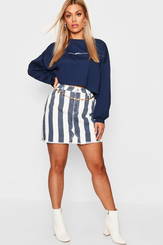 Womens Navy Plus Stripe Denim Skirt