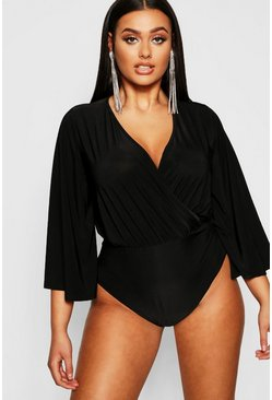 Womens Black Plus Disco Slinky Wide Sleeve Wrap Bodysuit