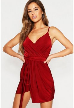 Womens Wine Petite Disco Slinky Wrap Drape Dress