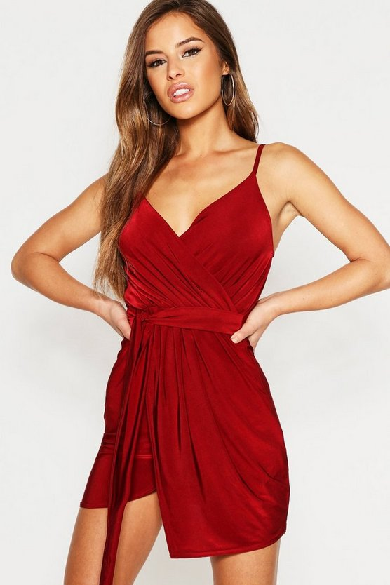 Petite Disco Slinky Wrap Drape Dress