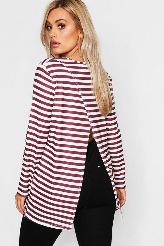 Womens Berry Plus Split Back Striped Sleeved T-Shirt