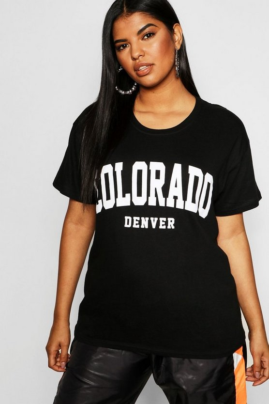 Womens Plus Colorado Slogan T-Shirt