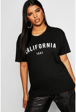 Womens Black Plus California 1991 Slogan T-Shirt