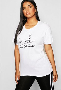 Womens White Plus San Francisco Slogan T-Shirt