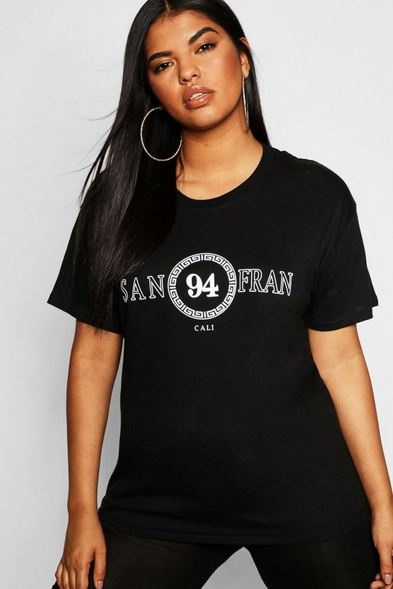 Womens Black Plus San Fran Slogan T-Shirt