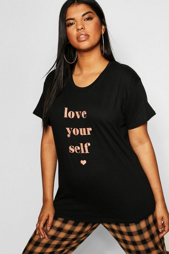 T-shirt à slogan Love Yourself Plus