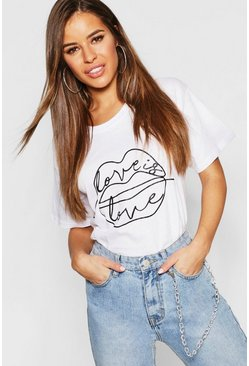 Womens White Petite Lips Sketch Slogan T-Shirt